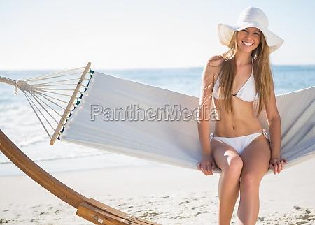 pretty, blonde, wearing, bikini, and, sunhat - 10024850