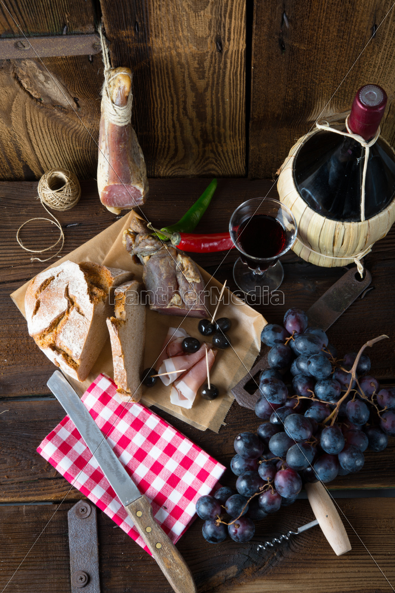 ham, wine, and, bread - 10025764