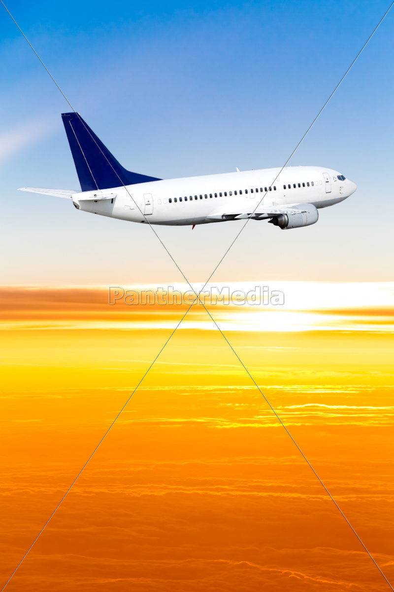 airplane, in, the, sky, at, sunset. - 10026460