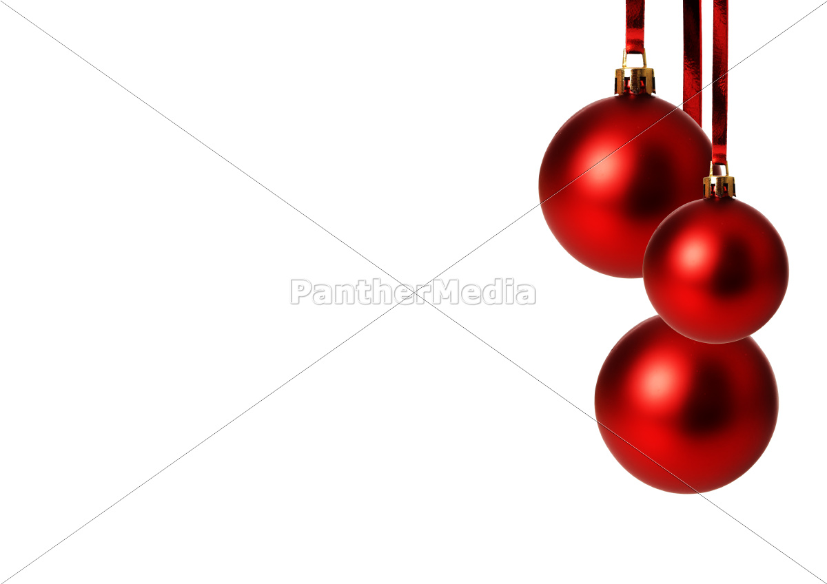 red, christmas, balls, hanging, exempted, white, background - 10029056