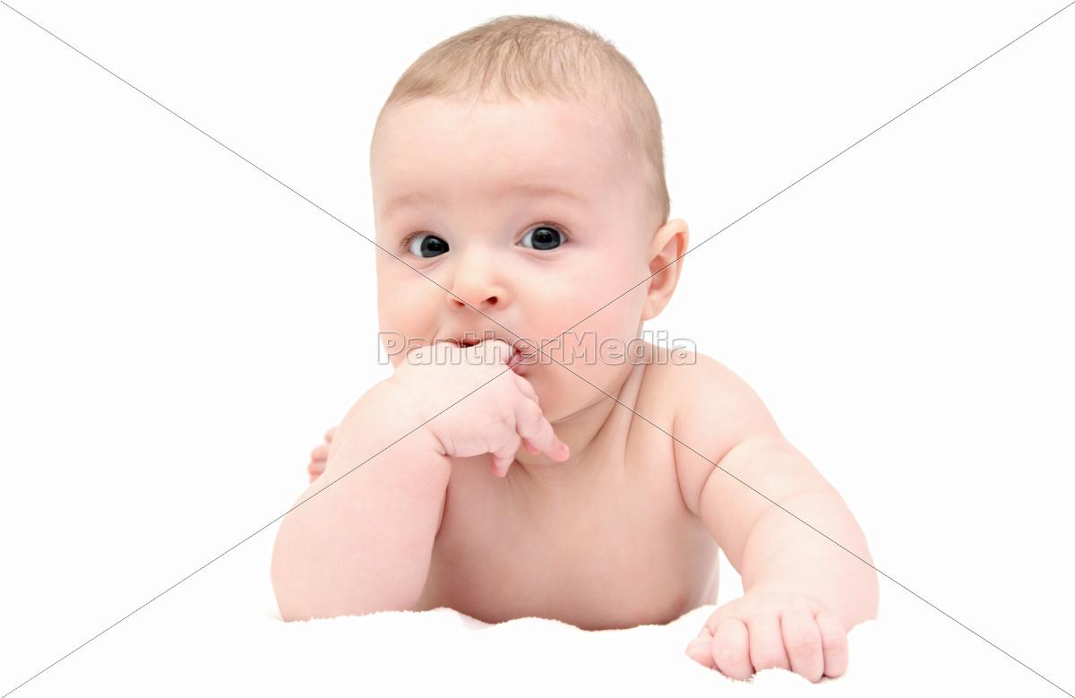 beautiful, baby, lies, on, white, blanket - 10030578