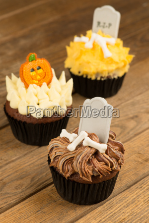 colorful halloween cupcakes close up