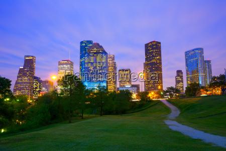 houston texas modern skyline at sunset