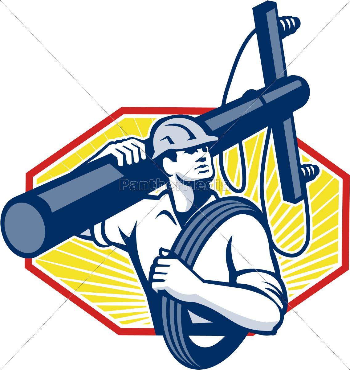 power, lineman, repairman, carry, electric, pole - 10032134