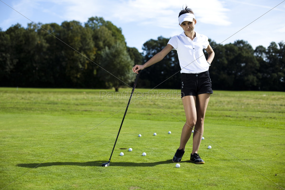 young, woman, playing, golf, - 10033678