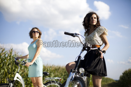 young woman riding bike