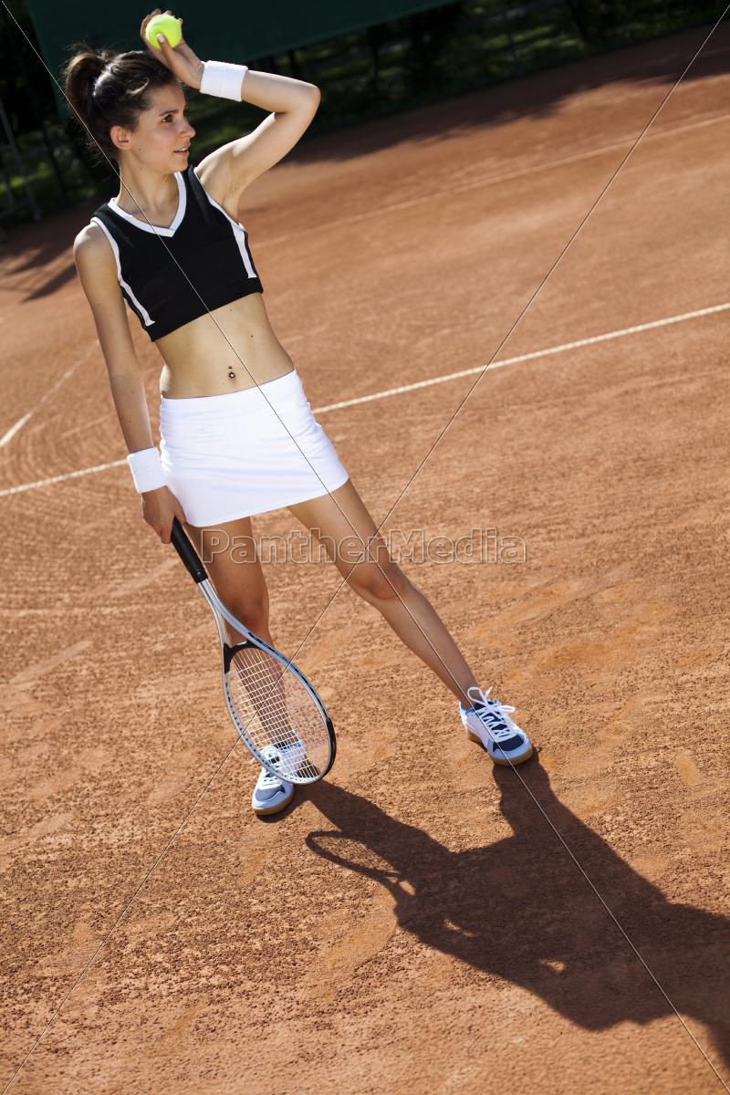, girl, playing, tennis, - 10036862
