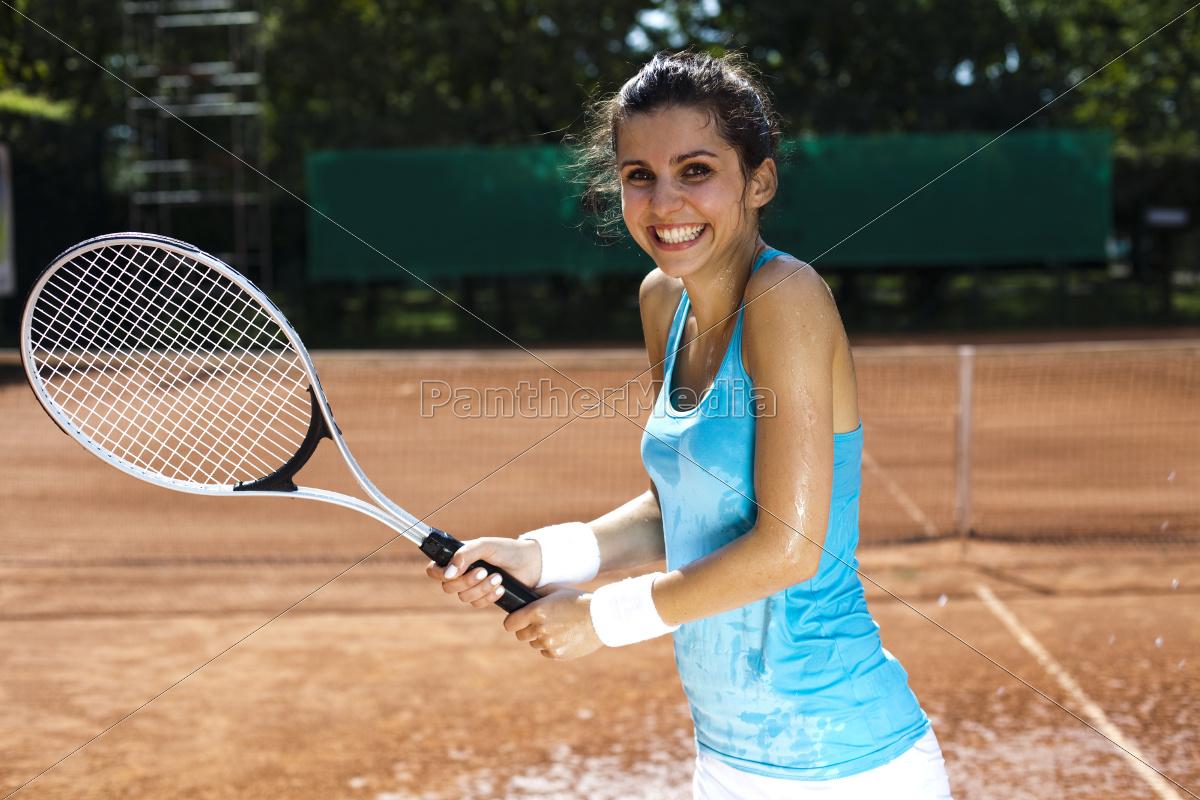 girl, playing, tennis, - 10036474
