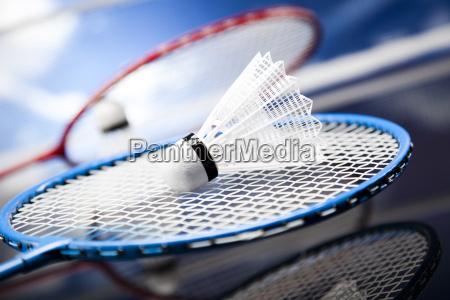 shuttlecock, on, badminton, racket, - 10036272