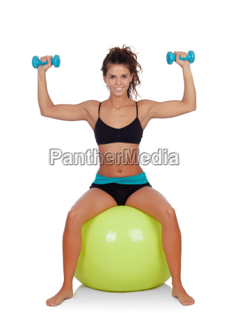 attractive, girl, lifting, dumbbells, sitting, on - 10038740