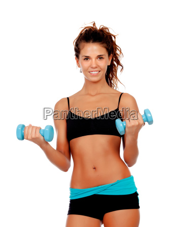 beautiful, woman, do, toning, exercises, with - 10038752