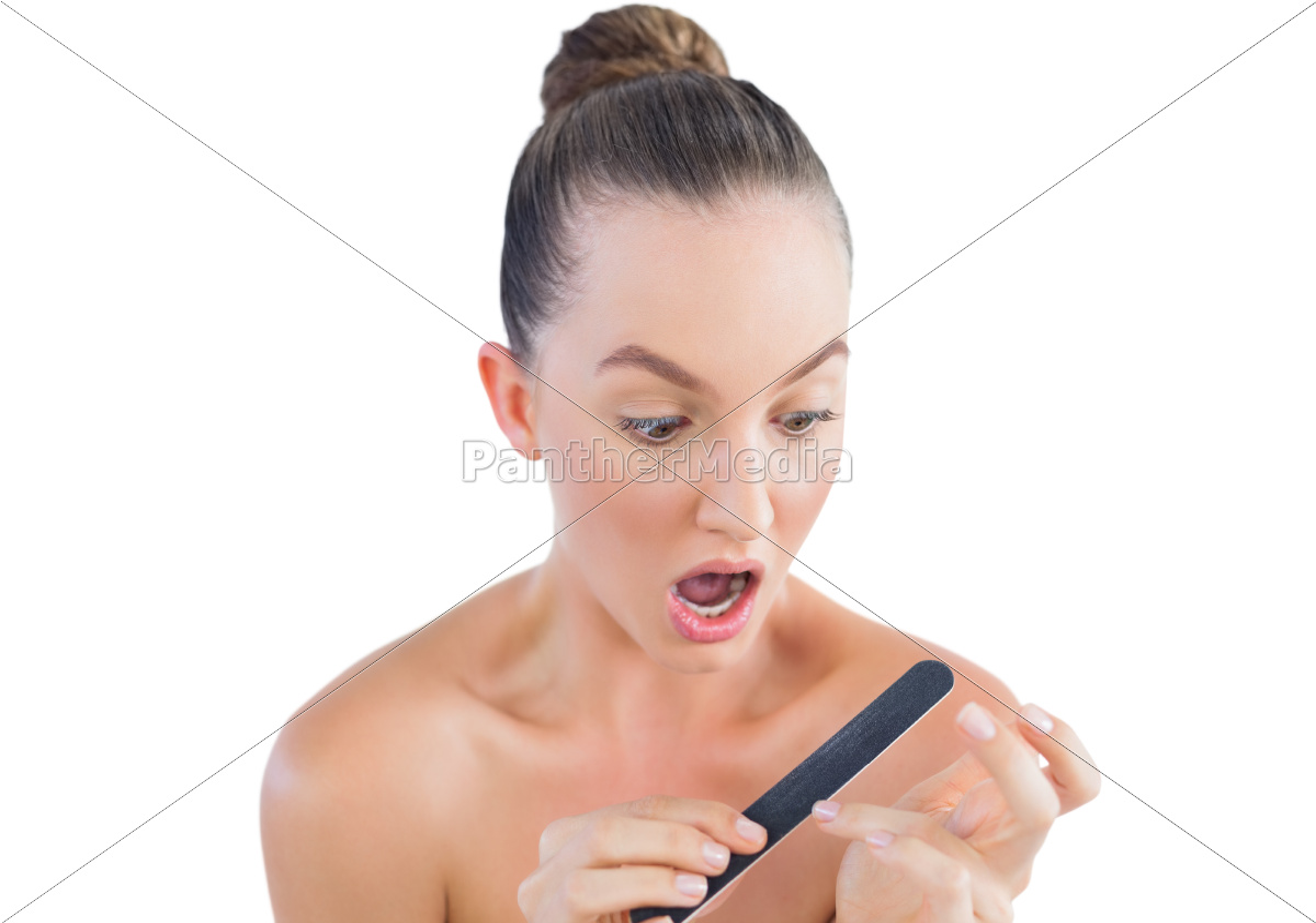 pretty, brunette, using, nail, file - 10038122