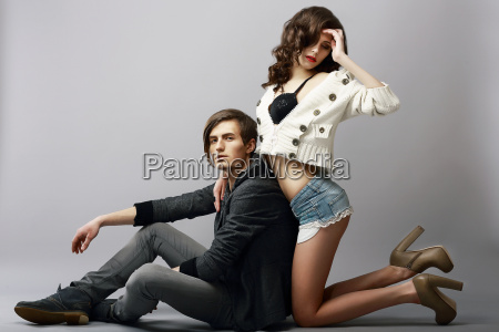 young affectionate amorous couple in studio