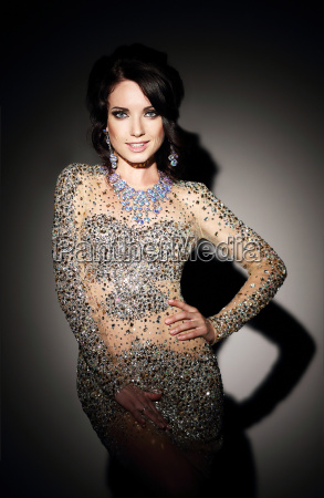 glam., successful, lady, in, silver, evening - 10039058