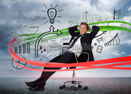 businessman sitting in front of detailed