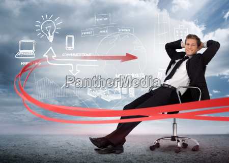 businessman, sitting, in, front, of, brainstorming - 10040048