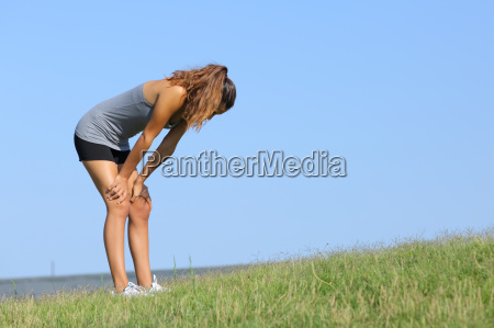 fitness woman tired resting