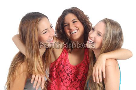group, of, three, girls, hugging, happy - 10043664