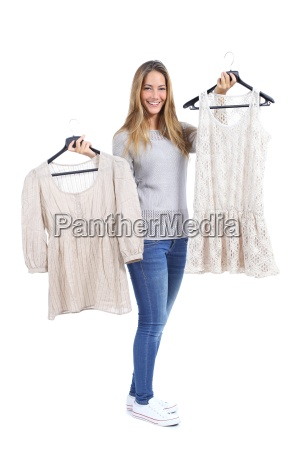 happy, woman, shopping, and, choosing, clothes - 10043710