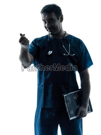 doctor, man, silhouette, portrait, gesturing, money - 10045006