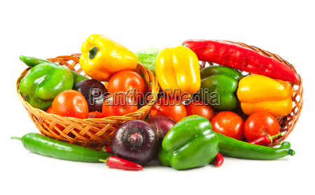 fresh, vegetables, in, basket, isolated, on - 10045672