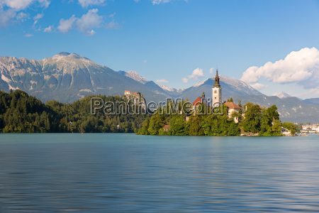 lake bled with bled island slovenia