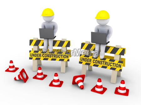 under construction signs and two workers