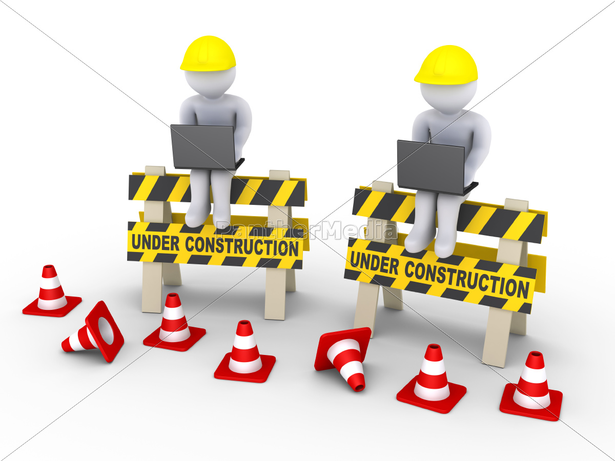 under, construction, signs, and, two, workers - 10065170