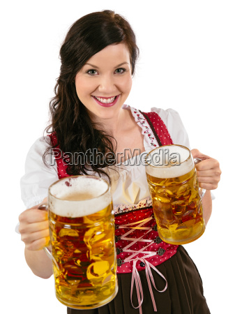 gorgeous oktoberfest waitress with beer