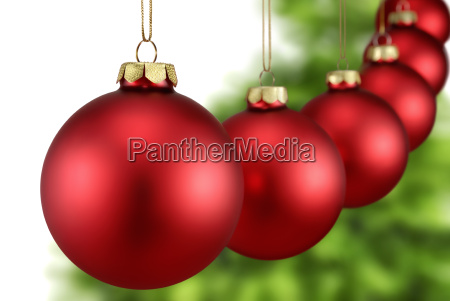 red christmas balls hanging in a
