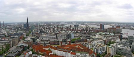 view from hamburgs michel towards speicherstadt