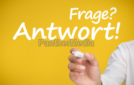 hand writing frage and antwort with