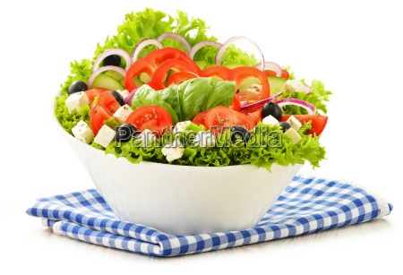vegetable, salad, bowl, isolated, on, white - 10074918