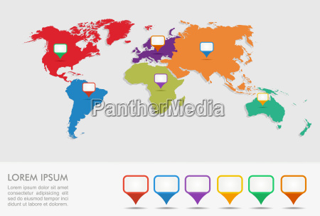 world map geo position pointers infographics
