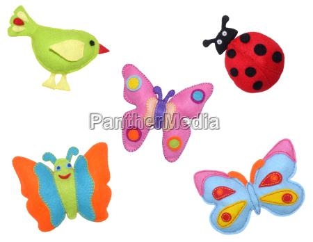 bird ladybug and butterflies
