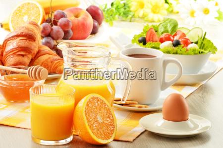 breakfast, with, coffee, , orange, juice, , croissant, - 10078886