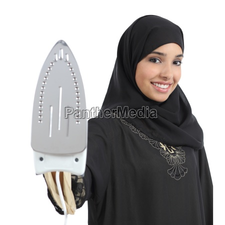 arab housewife woman smiling and holding