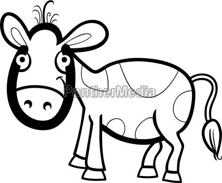 calf cartoon illustration for coloring book