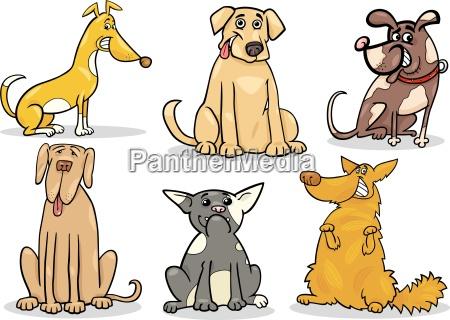 cute dogs set cartoon illustration