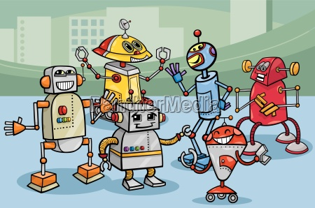 robots, group, cartoon, illustration - 10085900
