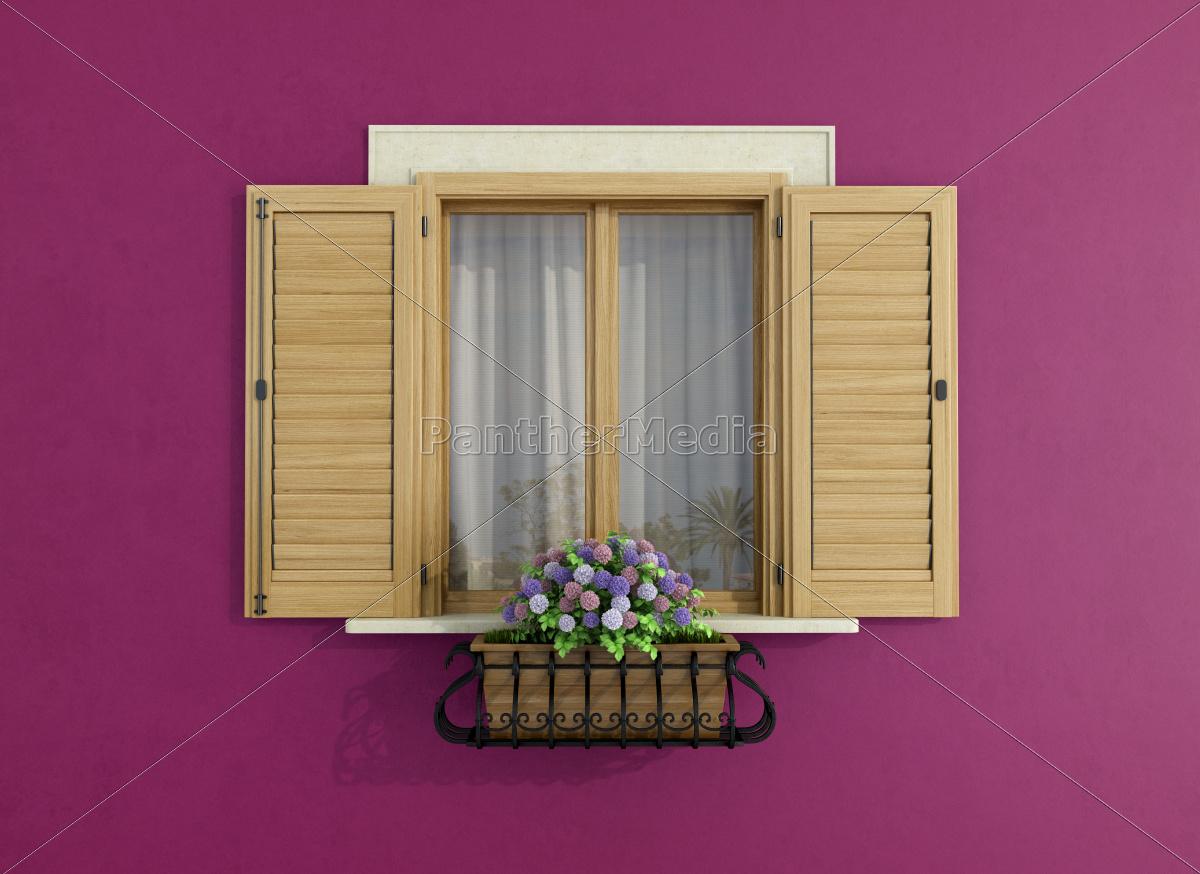 purple, facade, with, closed, windows - 10087832