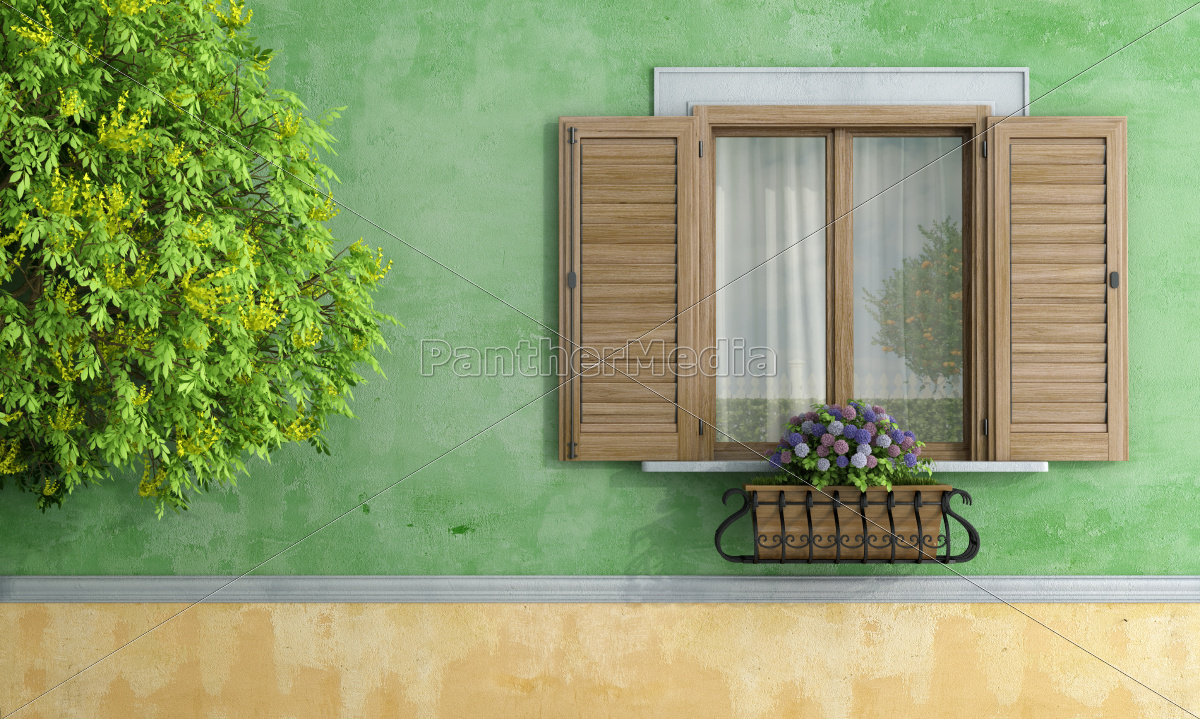 window, porthole, dormer window, pane, wall, hydrangea - 10087830
