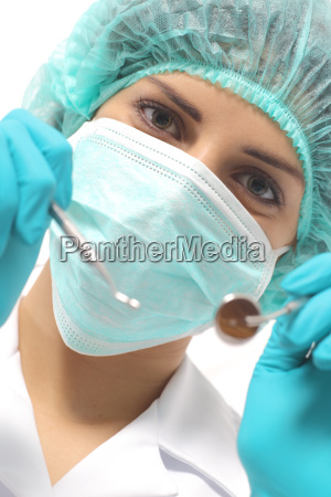 close up of a dentist woman