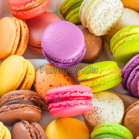 traditional french colorful macarons in a