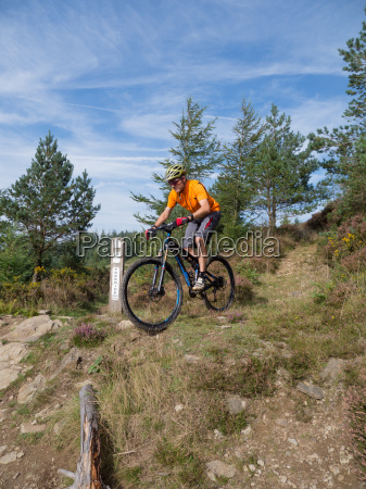 mountain, biker, riding, trails, in, wales - 10098802