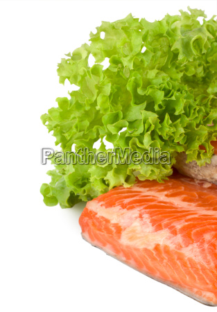 salmon and lettuce