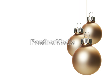 beige christmas tree balls hanging freely
