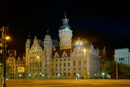 city hall in leipzig at night