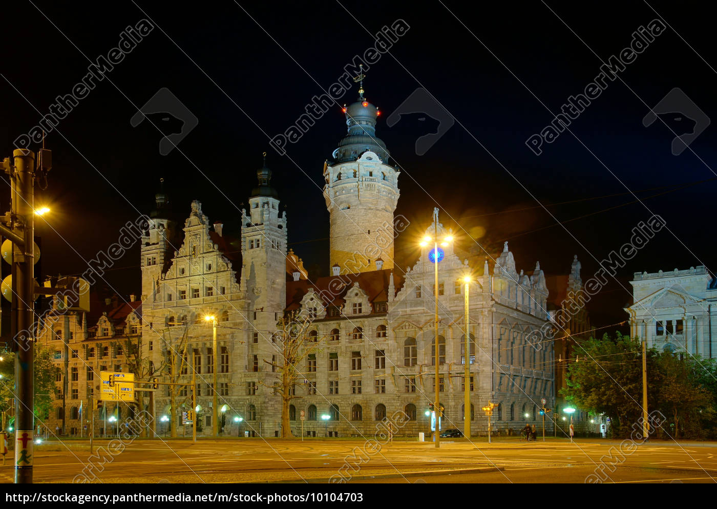 city, hall, in, leipzig, at, night - 10104703