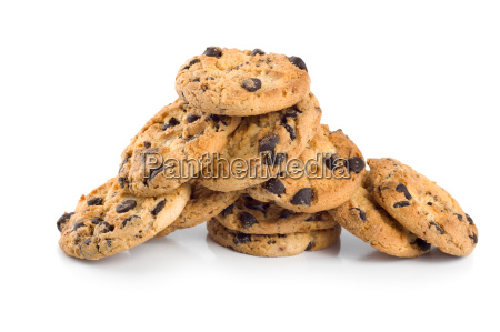 stack of chocolate chip cookies isolated